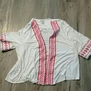 Style & Co red fringed  kimono cardigan M